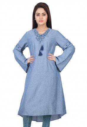 Plain Chambray Kurta in Blue