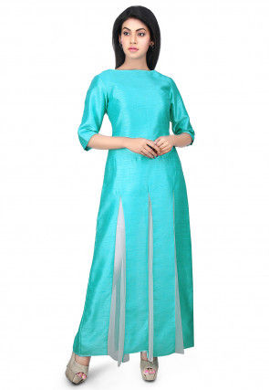 Plain Dupion Silk Kurta in Turquoise