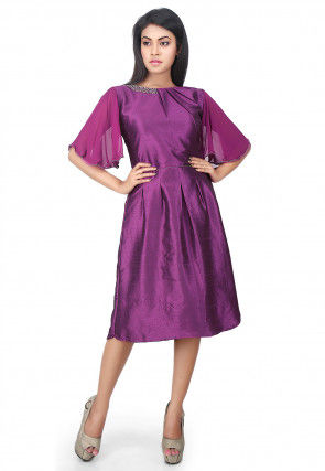 Plain Dupion Silk Tunic in Purple