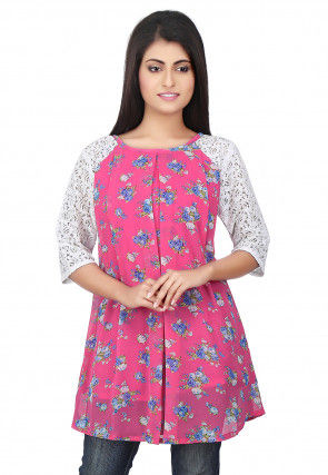 Floral Printed Georgette and Chantelle Net Top in Pink and White