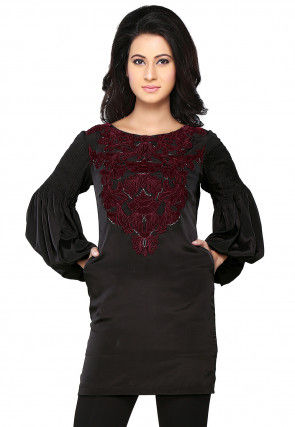 Embroidered Crepe Tunic In Black