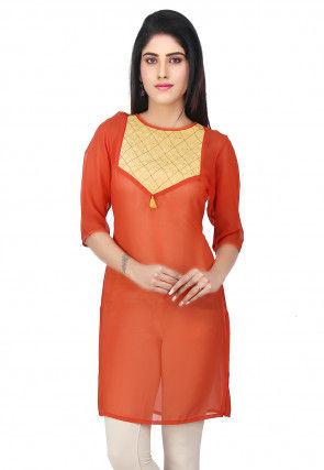 Contrast Yoke Georgette Kurti in Orange