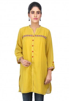 Side Pleated Georgette Tunic in Mustard