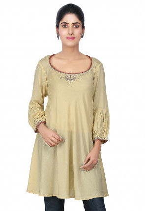 Hand Embroidered Modal Flared Tunic in Beige