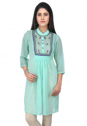 Embroidered Yoke Georgette Kurti in Turquoise