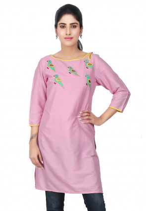 Embroidered Cotton Silk Kurti in Pink