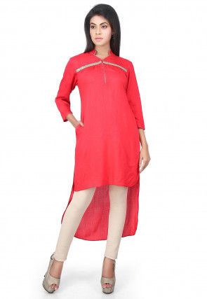 High Low Rayon Cotton High Low Kurti in Pink