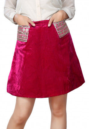 Embroidered Velvet Short Skirt In Fuchsia