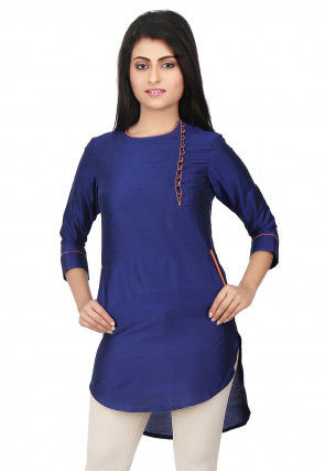 High Low Cotton Silk Tunic in Royal Blue