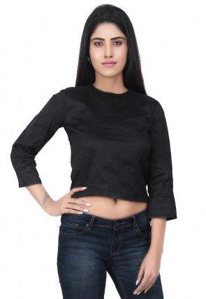 Plain Dupion Silk Crop Top in Black