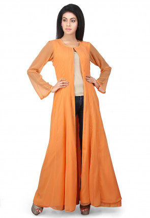 Plain Georgette Anarkali Long Jacket in Orange