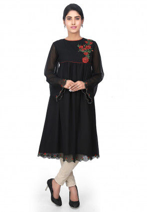 Plain Georgette Tunic in Black