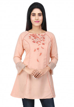 Embroidered Georgette Top in Peach