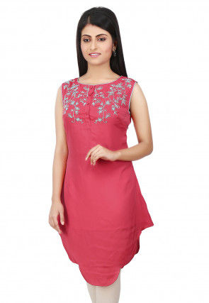 Embroidered Crepe Tunic in Coral Pink