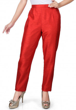 Plain Art Silk Straight Pant in Red