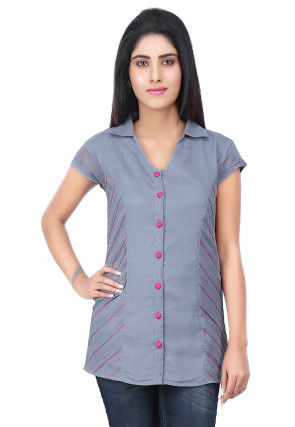 Side Pintucks Georgette Top in Grey