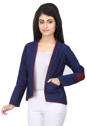 Plain Cotton Slub Jacket in Navy Blue
