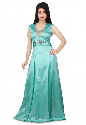 Embellished Waistline Satin Gown in Turquoise