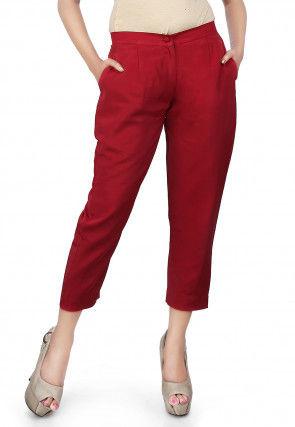 Plain Crepe Straight Pant in Maroon