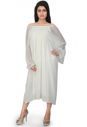 Pleated Georgette Dress in White