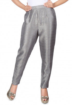 Plain Raw Silk Straight Pant in Grey