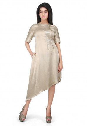 Embellished Side Placket Satin Asymmetric Dress in Beige