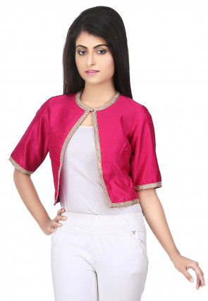 Plain Raw Silk Jacket in Fuchsia