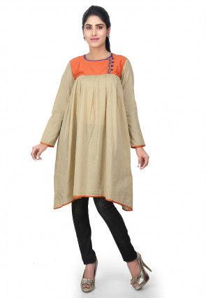 Contrast Yoke Cotton Chanderi Tunic in Beige and Orange