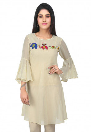 Bell Sleeve Georgette Flared Kurti in Cream