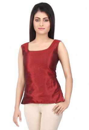 Plain Raw Silk Top in Maroon