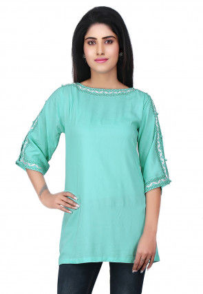 Embroidered Neckline Rayon Tunic in Turquoise