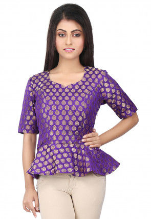 Woven Chanderi Silk Peplum Style Top in Purple