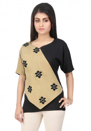 Embroidered Crepe Top in Beige and Black
