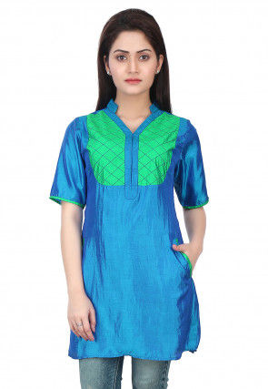 Plain Art Silk Kurti in Blue
