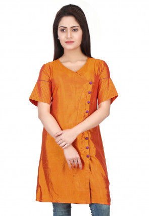 Plain Art Silk Tunic in Orange