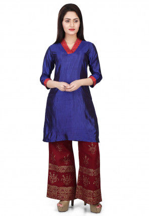 Plain Art Silk Kurti in Indigo