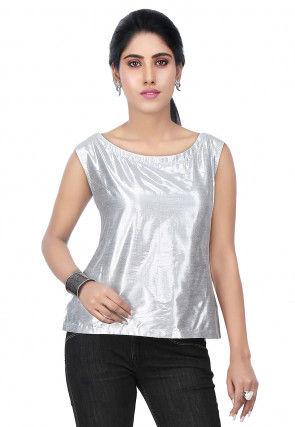 Plain Art Silk Shimmer Top in Silver