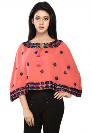 Embroidered Georgette Cape In Old Rose