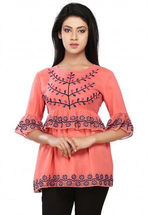 Embroidered Georgette Top In Old Rose