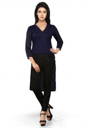 Embroidered Nylon Georgette Tunic in Blue