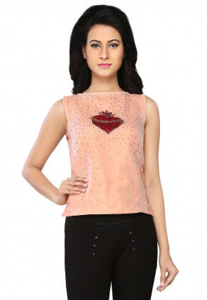 Embroidered Tissue and Raw Silk Top in Peach