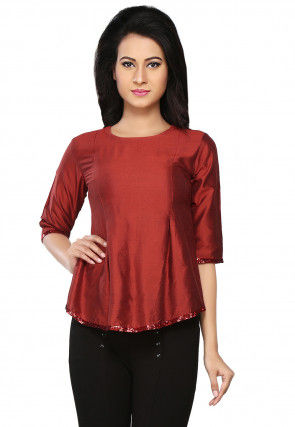 Plain Cotton Silk Flared Top in Maroon