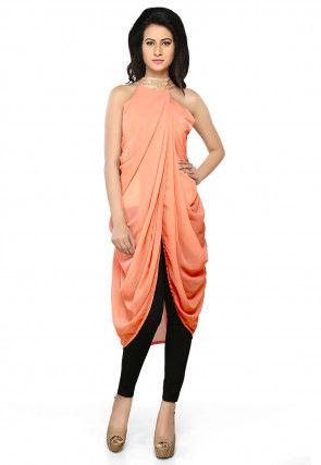 Plain Georgette Dhoti Style Tunic in Peach