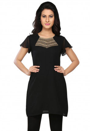 Embroidered Georgette Dress in Black