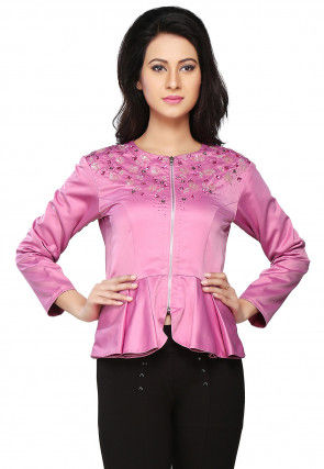 Embroidered Dutch Satin Flared Jacket in Pink