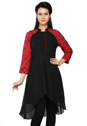 Embroidered Georgette and Crepe Asymmetric Tunic in Black