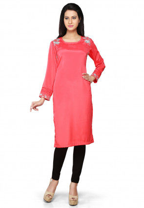 Embroidered Crepe Long Kurta in Coral