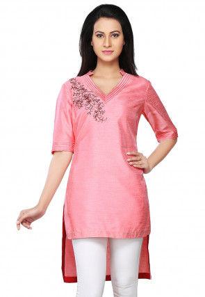 Embroidered Dupion Silk Asymmetric Kurti in Pink