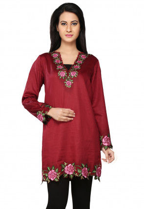 Embroidered Cotton Tunic in Maroon
