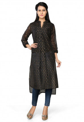 Printed Chanderi Silk Asymmetric Long Kurta in Black